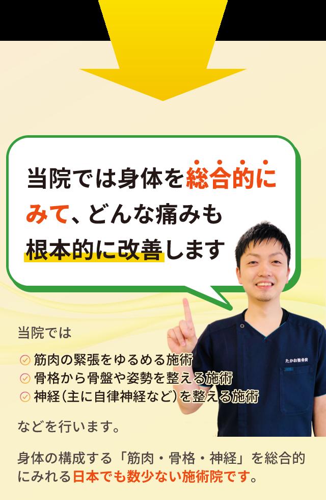 「当院では身体を総合的に  診てどんな痛みも  根本的に改善します」